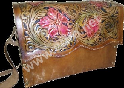 Engraved Natural Leather Brown Bag